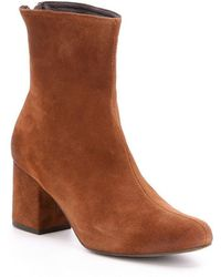 Free People Cecile Leather Block Heel Mid Calf Booties - Black