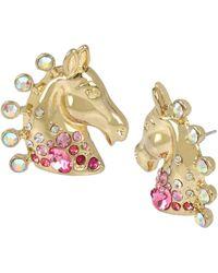 Betsey Johnson Horse Button Stud Earrings - Metallic