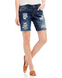 Silver Jeans Co. - Sam Destructed Bermuda Shorts - Lyst