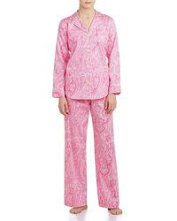 Lauren by Ralph Lauren - Classic Notch-collar Sateen Pajamas - Lyst