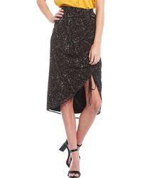 Gianni Bini Molly Ditsy Floral Print Hi-low Chiffon Midi Skirt - Black