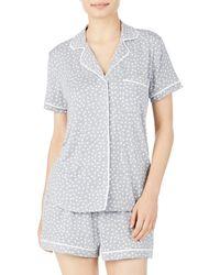 Kate Spade Printed Short Pajama Set - Gray