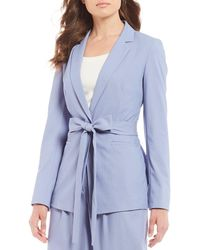 Antonio Melani Taylor Tie Waist Chambray Suiting Jacket - Blue