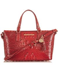 Brahmin Melbourne Collection Mini Asher Crocodile-embossed Tasselled Tote Bag - Red