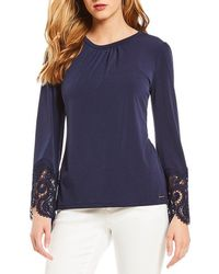 MICHAEL Michael Kors - Matte Jersey Shirred Neck Lace Cuff Flare Sleeve Top - Lyst