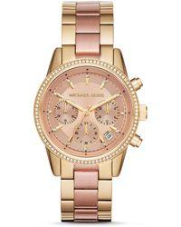 Michael Kors - Ritz Chronograph & Date Bracelet Watch - Lyst