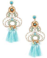 Belle By Badgley Mischka | Fancy Flower Tassel Drop Pierced Statement Earrings | Lyst