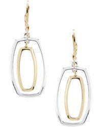 Anne Klein - Two Tone Orbital Drop Earrings - Lyst
