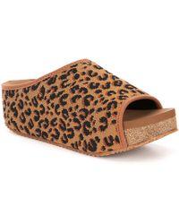 Volatile - Elias Leopard Print Stretch Knit Footbed Sandals - Lyst