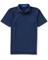 Fairway & Greene Short-sleeve Jake Stripe Natural Jersey Golf Polo - Blue