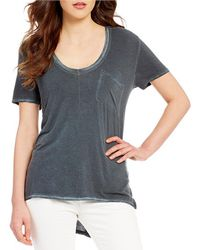 Free People Rising Sun Scoop Neck Short Sleeve Patch Pocket Tee - Gray