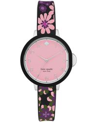 Kate Spade Park Row Floral Silicone Strap Watch - Pink