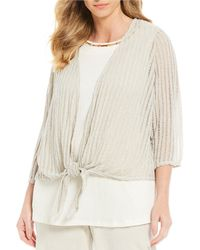 Ruby Rd. - Plus Size Stripe Lace Knit Tie-front Cardigan - Lyst
