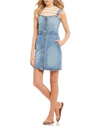 Billabong - Coastline Dance Denim Mini Jumper Dress - Lyst