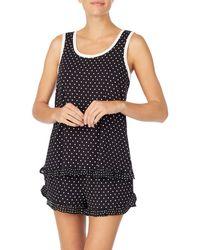 Kate Spade Dot Print Knit Shorty Pajama Set - Black