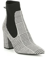 Steve Madden - Richter Plaid Block Heel Booties - Lyst