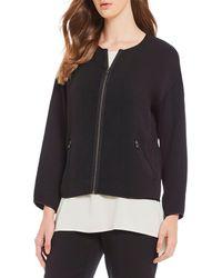 2364dab70510c Lyst - Eileen Fisher Plus Size Round Neck Drawstring Jacket in Green