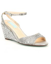 Betsey Johnson - Blue By Elora Rhinestone Jeweled Metallic Wedge Sandals - Lyst