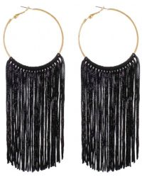 Panacea Black Nylon Statement Hoop Earrings