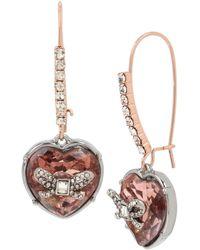 Betsey Johnson Blush Stone Heart Long Drop Earrings - Multicolour