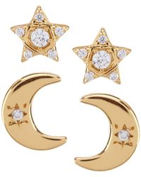 Argento Vivo - Moon And Star Stud Earrings - Lyst