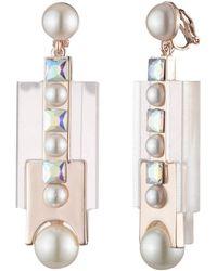 Carolee Resin Pearl Clip Earrings - Metallic