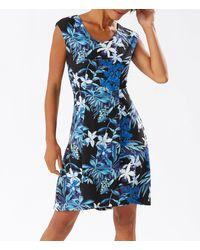 Tommy Bahama Floriana Noche Floral Print Short Stretchy A-line Dress - Black