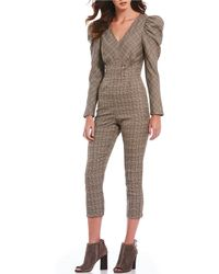 Sugarlips - Menswear Plaid Puffed Statement Shoulder V-neck Cropped Jumpsuit - Lyst