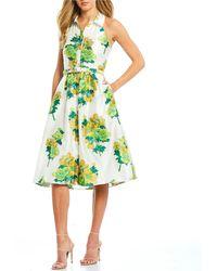Belle By Badgley Mischka Floral Print Halter Neck Belted Midi Shirt Dress - Green
