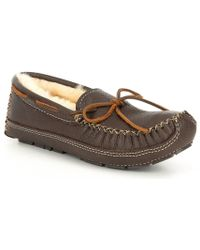 221c6e524 Lyst - Minnetonka Sheepskin Lined Moose Slipper in Brown for Men