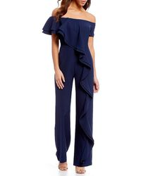 Belle By Badgley Mischka - Off The Shoulder Crepe Jump Suit - Lyst