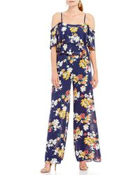 Laundry by Shelli Segal - Floral Ruffle Jumpsuit - Lyst
