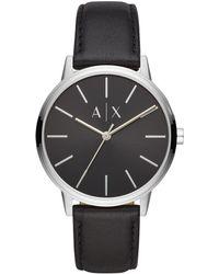 Armani Exchange - Minimalist Steel Leather Band Watch - Lyst