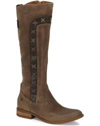 Born Albi Distressed Suede Side X Tall Block Heel Boots - Natural