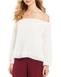 Gianni Bini - Sara Off-the-shoulder Balloon Sleeve Pleated Blouse - Lyst