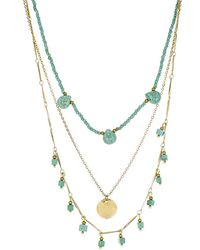 Panacea - Turquoise Pre Layered Stone Necklace - Lyst