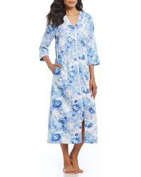 Miss Elaine - Petite Floral-print Sateen Zip-front Long Robe - Lyst
