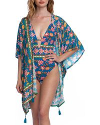 Nanette Lepore Polynesian Floral Print Kimono Cover Up - Blue