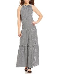 Maggy London - Gingham Tied Tiered Halter Maxi Dress - Lyst