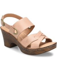 Born Leisure Leather Wood Block Heel Sandals - Multicolour