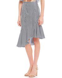 Gianni Bini - Jenny Stripe Ruffle Hem Wrap Style Front Coordinating Skirt - Lyst