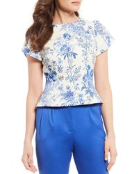 Antonio Melani Gigi Floral Print Cotton Blend Sateen Short Pleat Detail Sleeve Blouse - Blue