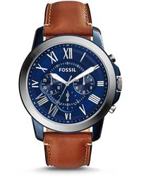 Fossil - Men's Chronograph Grant Light Brown Leather Strap Watch 44mm Fs5151 - Lyst
