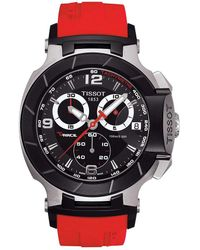 Tissot - T-race Red Strap Chronograph Watch - Lyst
