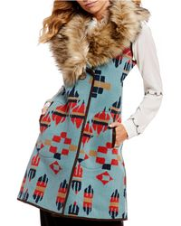 Tasha Polizzi Old Ranch Faux Fur Collar Vest - Blue