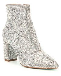 Betsey Johnson Blue By Cady Rhinestone Embellished Block Heel Booties - Multicolour