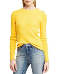 Lauren by Ralph Lauren - Ribbed Sweater With Buttons On One Shoulder - Lyst