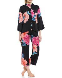 N By Natori - Peony Blossom Silky Satin Pajama Set - Lyst