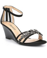 J. Reneé - Mariabella Satin And Mesh Rhinestone Ornament Ankle Strap Dress Wedges - Lyst