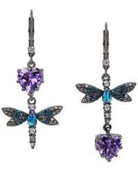 Betsey Johnson - Cubic Zirconia Dragonfly Double-drop Mismatch Earrings - Lyst